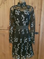 BNWT STUNNING LADIES LACE LOOK BLACK/SILVER DRESS WITH CAMI BY NEXT - UK 8