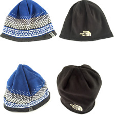 The North Face Reversible Beanie Hat Blue Black Warm One Size Pattern Sale