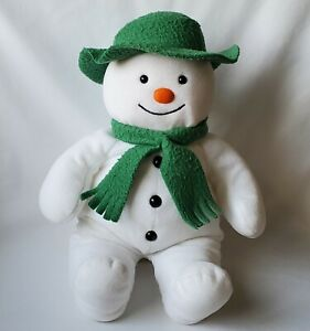 "Eden 14"" White Snowman Plush Green Felt Hat Scarf Raymond Briggs Stuffed Toy"