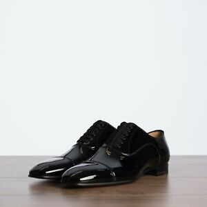 CHRISTIAN LOUBOUTIN 850$ Greggo Oxford Shoes In Black Patent Leather