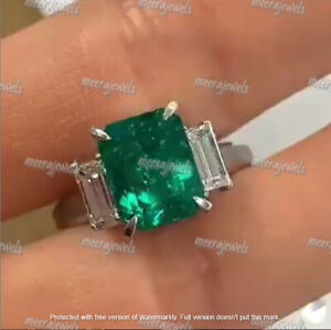 4Ct Emerald Cut Green Emerald Three Stone Engagement Ring 14K White Gold Finish