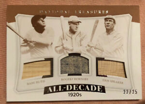 Babe Ruth-Rogers Hornsby-Tris Speaker Jersey/Bat Panini 1920's All Decade #22/25