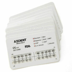 10 packs Dental Orthodontic Bracket Standard Edgewise Slot.018 Hook 3 4 5 AZDENT