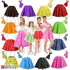 ROCK N ROLL Fancy Dress Grease 1950s Fancy Dress SKIRT & SCARF COSTUME all Size