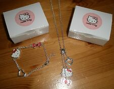NEW HELLO KITTY NECKLACE AND BRACELET SET