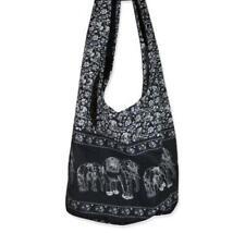 Hippie Elephant Sling Crossbody Bag Purse Thai Top Zip Handmade Black S11