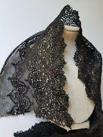 Rare Black Antique Cluny Lace Bobbin Trim Torchon Scallop Edge Victorian c1860's