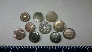 VINTAGE LOT OF 10 GOLDEN AGE ONE PIECE BUTTONS 1820'S - 1830'S