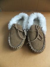 Ladies, Genuine Sheepskin Suede, Tan, Moccasin's with Faux Wool Lining - Size 4