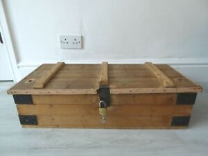 Vintage Wooden Tool Box with Metal Fittings, Handles & Lock Storage Chest