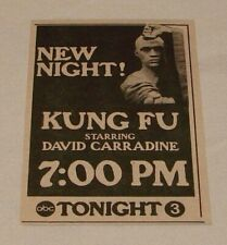 1975 small ABC tv ad ~ KUNG FU David Carradine ~ new night