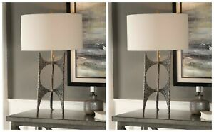 """TWO MODERN INDUSTRIAL INSPIRED CAST IRON BODY 27"""" ACCENT TABLE LAMP UTTERMOST"""