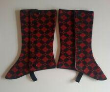 Antique Gentlemen Spats Argyle Red Black, Grey leather lining Vintage steampunk