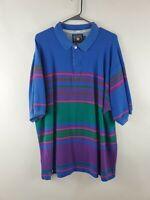Vintage 90's Chaps Ralph Lauren Striped Colorblock Polo Shirt Mens Sz XL Cotton
