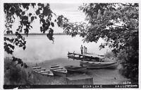 C-1952 Bear Lake boat dock Haugen Wisconsin RPPC real photo postcard 4103