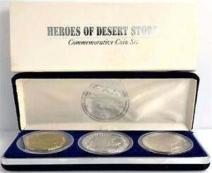 1991 Heroes of Desert Storm 3 Coin with Box Commemorative Coin Set