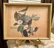 Vintage Bamboo Style Frame Warbling Flycatcher BIRD PRINT Muscicapa Gilva