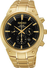 Seiko SSC320 Mens Black Dial Analog Quartz Watch