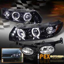 2006-2008 Honda Civic 2Dr Halo Projector LED Shiny Black Headlights + Fog Light