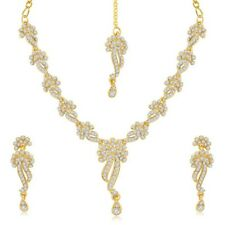 Indian Traditional  Australian Diamond Stone Studded Gold Plated Necklace Set