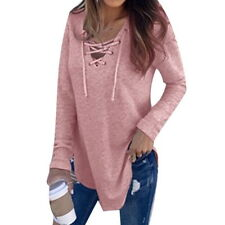 US Womens Long Sleeve Casual Blouse Loose Lace Up Tops Girls Pullover Tops 6-22