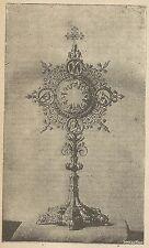 A4134 Ostensorio - Incisione - Stampa Antica del 1890