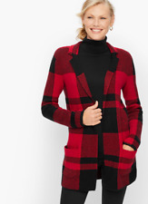 TALBOTS PLAID COTTON BLEND SWEATER JACKET $129.00