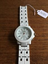 Ladies/Gents RIVER ISLAND Large Faced White Coated SS Watch & Strap  W365/31