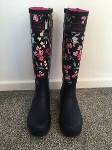 🌟BNWOT🌟Joules Tall Wellies Adjustable Back Gusset Navy Floral 6(39)