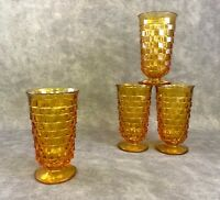 "4 Indiana Glass Amber Whitehall Cubist 6"" Tall Footed Glasses Tumblers Coolers"