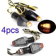 4x Universal Motorcycle Black 14 LED Amber Turn Signals Indicators Blinker Clear