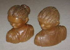 Vintage Set J.Pinal Carved Wood Sculpture Man & Woman Mexico Boy Girl