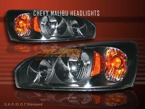 04-07 CHEVROLET MALIBU BLACK HEADLIGHTS LH RH HEAD LAMPS ASSEMBLY