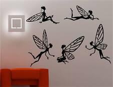 5 x FAIRIES wall art sticker vinyl KIDS BEDROOM DECAL