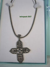 "STER SILV+.925+MARCASITE+CROSS+16"" NECKLACE"