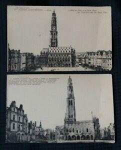 Vintage WW1  Postcard x 2  L` Hotel  De  Ville  Arras