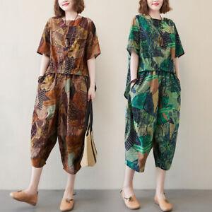 Women Summer 2 Pcs Set Loose Shirts and Pants Cotton Linen Suit Plus Size M-2XL