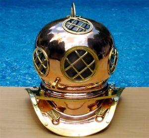 Navy Divers Helmet Copper w/Brass Detail
