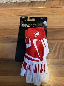 New Nike Youth Huarache Edge Batting Gloves Red/White Size Youth Large