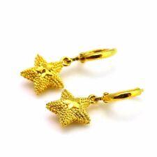 24k Yellow Gold Filled Earrings Star Dangle Hoop GF Charm Women Fashion Jewelry