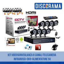 KIT VIDEOSORVEGLIANZA 8 CANALI TELECAMERA INFRAROSSI + DVR +ALIMENTATORE CCTV 5G