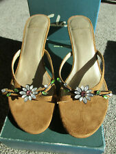 BRAND NEW IN BOX SIZE 4.5 'SHARINA' CLARKS TAN FAUX SUEDE MULES HEELS SANDALS