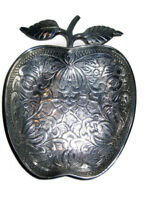 Tray Dish Heavy Weight Silver Plate Apple Shaped Ornate Art Nouveau Designs