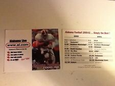 University of Alabama football pocket schedule 2000-01