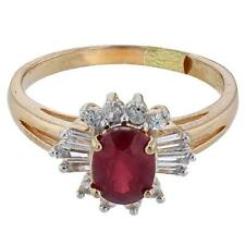Orianne Yellow Gold over 925 SS Ruby and White Sapphire Ring - New