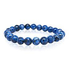 Blue Jasper Natural Stone Beaded Bracelet for Men Women Chakra Charm-DT122