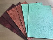 A4 Handmade Paper Leather / Crinkled Effect 6pk 200 gsm Card Toppers / Layering
