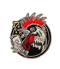 Artist Kruse Rockabilly Rooster Bird W Mic Embroidered Iron On Patch Applique FD