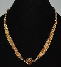 Gold Tone Metal Necklace Multi layer Chains Gyroscope Pendant