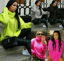 Women Ladies Chunky Knitted Baggy Oversized Jumper Dress High Polo Roll Neck Top